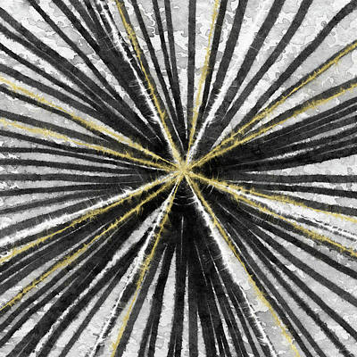 Spinning Black And Gold- Art By Linda Woods Print by Linda Woods