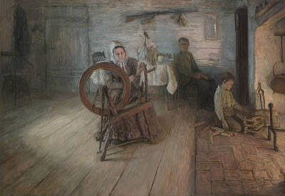 African-american Painting - Spinning By Firelight by Henry Ossawa Tanner