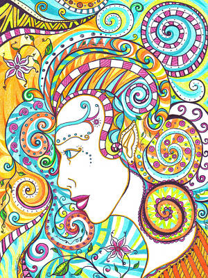 Dots And Lines Mixed Media - Spiraled Out Of Control by Shawna Rowe
