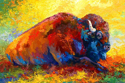Bison Painting - Spirit Brother - Bison by Marion Rose