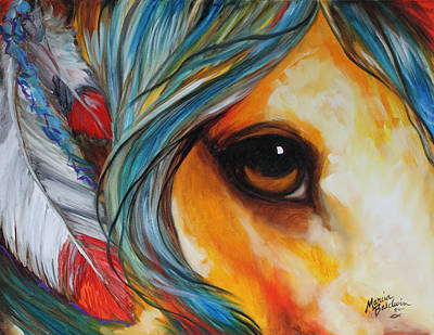 Horse Eye Painting - Spirit Eye Indian War Horse by Marcia Baldwin