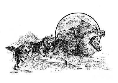 Spirit Of The Singing Wolves Print by Joseph Juvenal