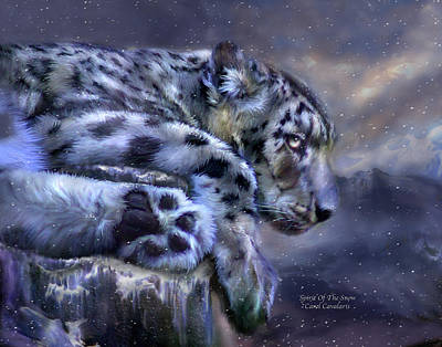 Leopard Mixed Media - Spirit Of The Snow by Carol Cavalaris