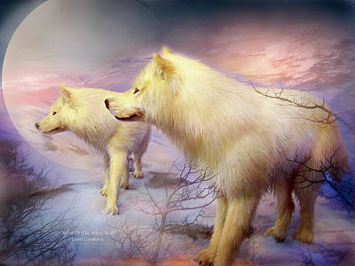 Arctic Mixed Media - Spirit Of The White Wolf by Carol Cavalaris