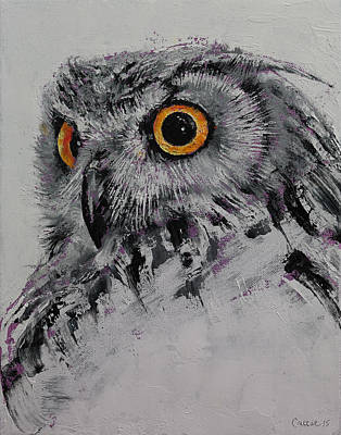 Black And White Birds Painting - Spirit Owl by Michael Creese
