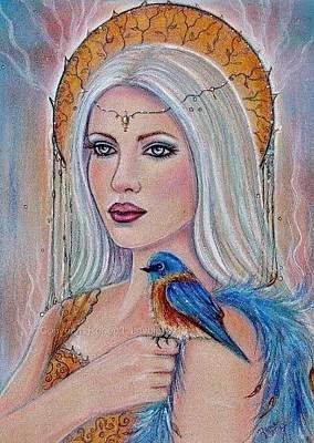 Bluebird Drawing - Spirit World by Renee Lavoie