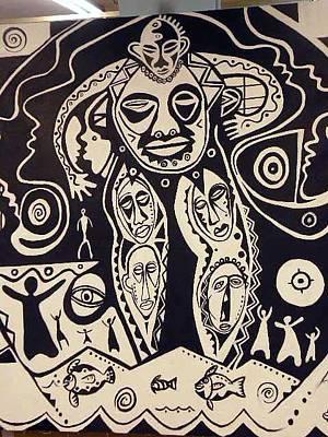 Nappy Head Art Painting - Spiritual Rythmn by Robert Daniels