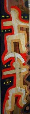 Weusi Art Painting - Spiritual  Totem -two Culturals by Robert Daniels