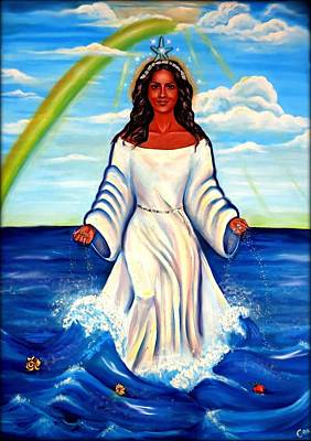 Yemaya Painting - Spiritual Yemaya -goddess Of The Sea by Carmen Cordova