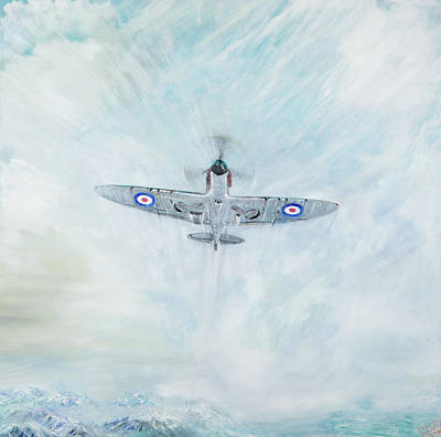 Spitfire Painting - Spitfire   Ace Of Spades by Vincent Alexander Booth