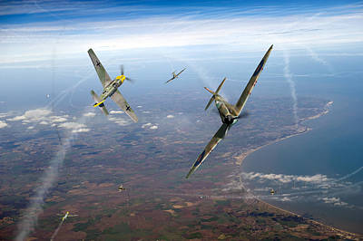 Spitfire And Bf 109 In Battle Of Britain Duel  Print by Gary Eason