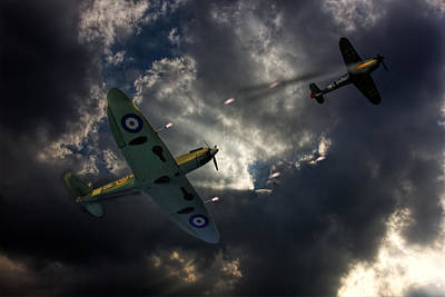 Ww11 Aircraft Photograph - Spitfire Dogfight by Thanet Photos