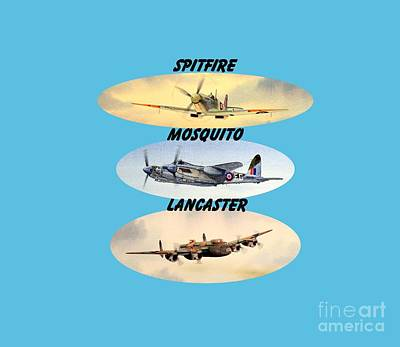 Flyers Painting - Spitfire Mosquito Lancaster Aircraft With Name Banners by Bill Holkham