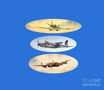 Flyers Painting - Spitfire Mosquito Lancaster Collage by Bill Holkham
