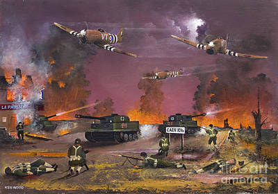 Ww11 Aircraft Painting - Retreat From Caen - June 7th 1944 by Ken Wood