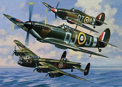Spitfire Painting - Spitfires by Wilf Hardy
