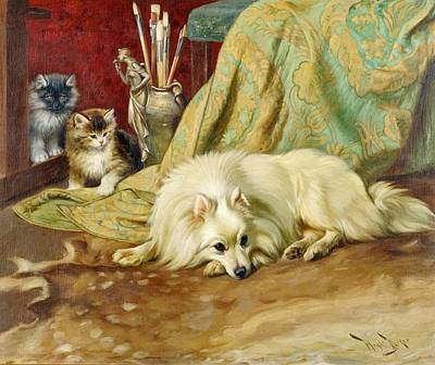Wright Barker Painting - Spitz Dog With Two Kittens Beside  by Wright Barker