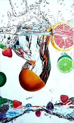 Raspberry Drawing - Splash by Ashley Casterline