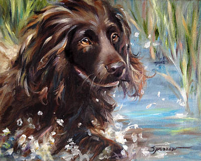 Dog Painting - Splash by Mary Sparrow