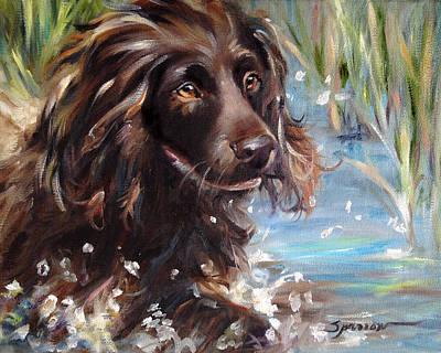 Boykin Spaniel Painting - Splash by Mary Sparrow
