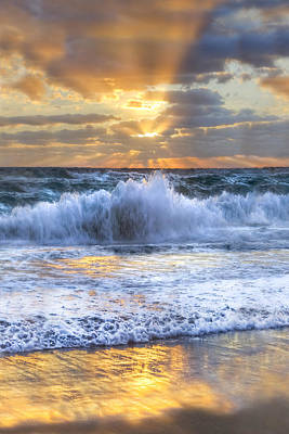 Splash Sunrise II Print by Debra and Dave Vanderlaan
