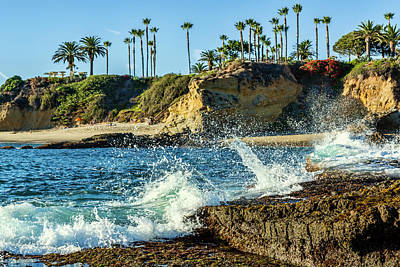 Splashing Waves And Nice Beach Print by Kelley King