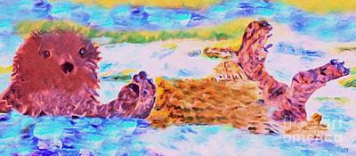Otter Mixed Media - Splish Splash by David Millenheft