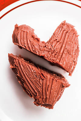 Split Hearts Chocolate Fudge On White Plate Print by Jorgo Photography - Wall Art Gallery