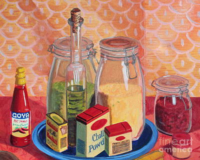 Green Beans Painting - Split Peas And Spices by Tricia Lesky