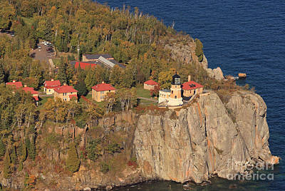 Split Rock Lighthouse Fall Aerial View Print by Tammy Wolfe
