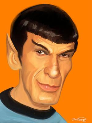 Pointy Ears Painting - Spock by Brett Hardin