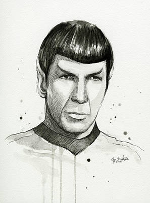 Spock Watercolor Portrait Print by Olga Shvartsur