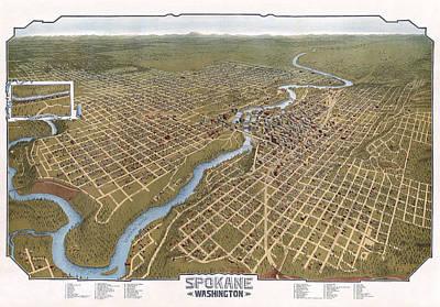 Spokane Washington Pictorial Map  1905 Print by Daniel Hagerman