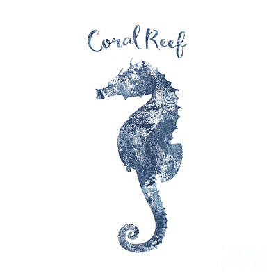 Seahorse Drawing - Sponge Painted Seahorse Coral Reef Silhouette, Delft Blue Nautical Art by Tina Lavoie
