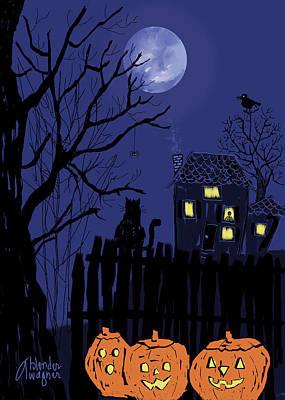 Jack-o-lantern Digital Art - Spooky Night by Arline Wagner