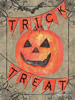 Spider Painting - Spooky Pumpkin 1 by Debbie DeWitt