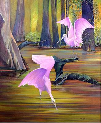 Spoonbill Drawing - Spoonbill Haven by Anthony Leto