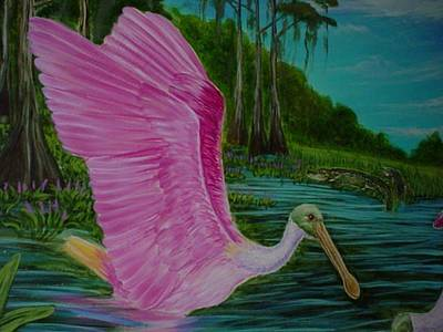 Spoonbill Drawing - Spoonbill Swamp  by Tim McCarthy