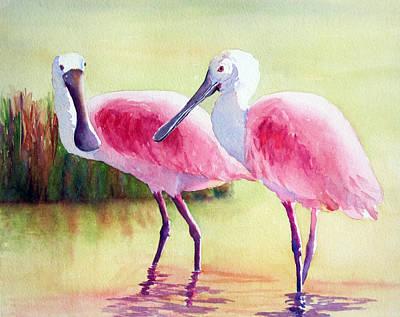 Spoonbills Original by Judy Mercer