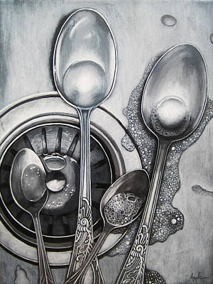 Painting - Spoons And Stainless Steel Realistic Still Life Painting by Linda Apple