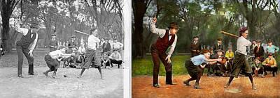 Sport - Baseball - Strike One 1921 - Side By Side Print by Mike Savad