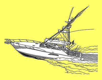 Sportfish Yacht Custom Tee Shirt Print by Jack Pumphrey