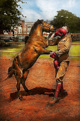 Shetland Pony Photograph - Sports - Boxing - Below The Belt 1924 by Mike Savad