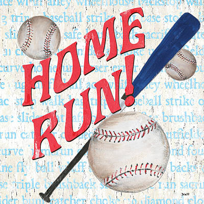 Sports Fan Baseball Print by Debbie DeWitt