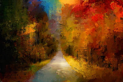 Autumn Scene Painting - Spotlight On Autumn by Jai Johnson