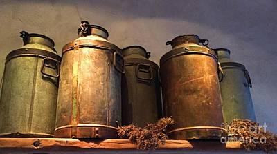 Old Milk Jugs Photograph - Spotlight On Old Milk Cans  by Barbie Corbett-Newmin