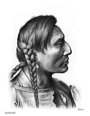 Indian Chief Drawing - Spotted Bull by Greg Joens
