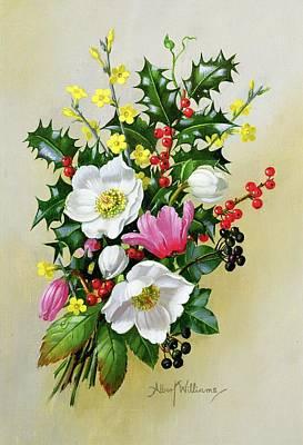 Spray Painting - Spray Of Dogrose Holly Mistletoe And Larkspur by Albert Williams