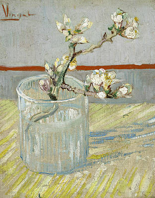 Almond Tree Painting - Sprig Of Flowering Almond In A Glass by Vincent van Gogh
