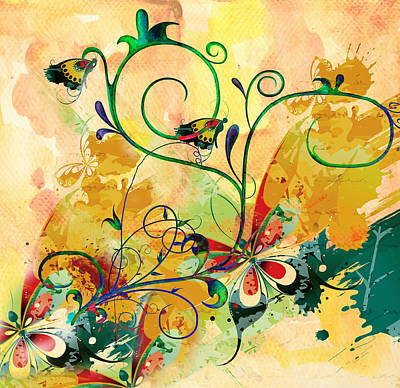 Mood Art Mixed Media - Spring Bliss Semi Abstract Design by Georgiana Romanovna